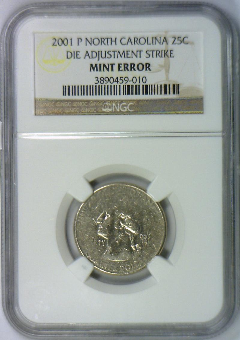 2001 P North Carolina Quarter Die Adjustment Strike Mint