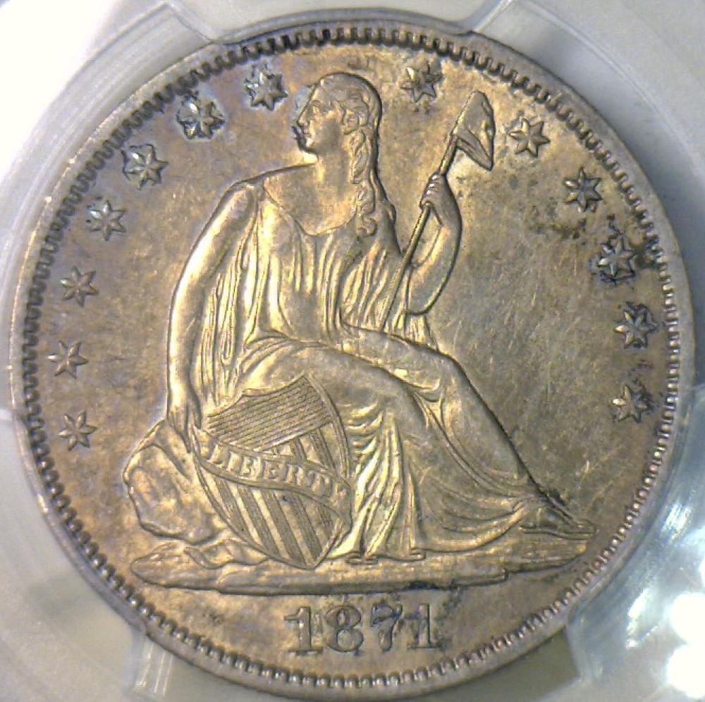 1871 S Seated Liberty Half Dollar Pcgs Au 55 Nice Look Ebay