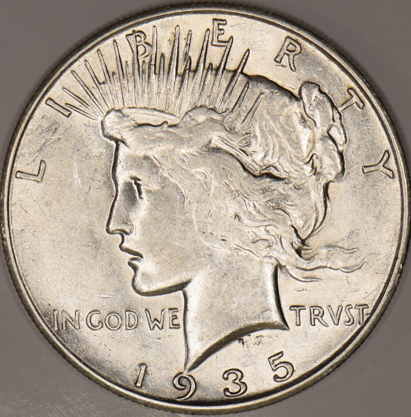 12-319 1935-S Peace Silver Dollar San Francisco Mint 4 Rays Variety