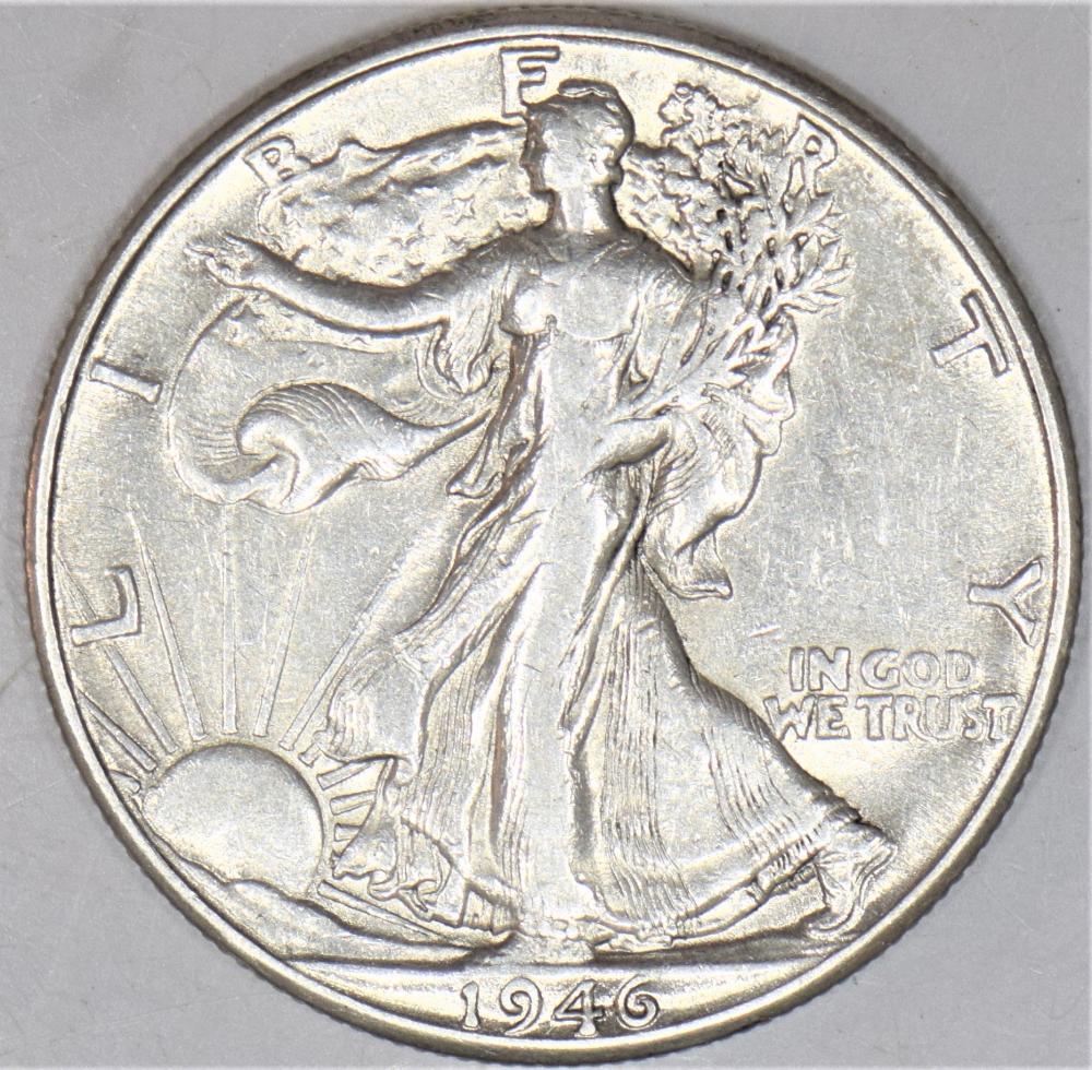 1946-D 50c Liberty Walking Silver Half Dollar F-Fine