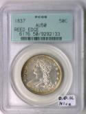 1837 Reeded Edge Bust Half Dollar PCGS AU-50; O.G.H., Nice!