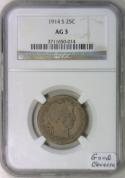 1914-S Barber Quarter NGC AG-3; Good Obverse