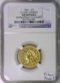 1861 Clark-Gruber $5 Gold Half Eagle; NGC AU; Pikes Peak!