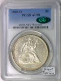 1860-O Seated Liberty Dollar PCGS AU-58 With CAC; Great Type Coin!