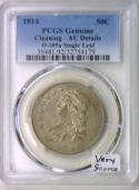 1814 O-105a Single Leaf Bust Half Dollar PCGS AU; Very Scarce!