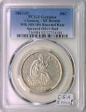 1861-O Bisected Date Speared Olive Bud Seated Half Dollar; PCGS XF; CSA Issue!