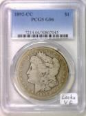 1892-CC Morgan Dollar PCGS G-06; Looks VG