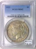 1923 Peace Dollar PCGS MS-62; Nice Color, Looks 64!