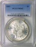 1883 Morgan Dollar PCGS MS-62