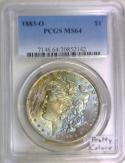1883-O Morgan Dollar PCGS MS-64; Pretty Colors!
