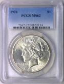 1926 Peace Dollar PCGS MS-62; Fully White!