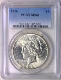 1926 Peace Dollar PCGS MS-61; Fully White!