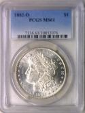 1882-O Morgan Dollar PCGS MS-61; Fully White!