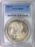 1883-O Morgan Dollar PCGS MS-64; Nice Light Original Tone!