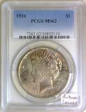 1924 Peace Dollar PCGS MS-62; Autumn Leaves