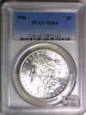 1886 Morgan Dollar PCGS MS-64; Nice White!