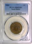 1864 Small Motto Two Cent PCGS MS-62 BN; Looks MS-64!