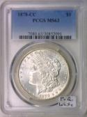 1878-CC Morgan Dollar PCGS MS-63; P.Q. White!