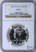 1964 Accent Hair Proof Kennedy Half Dollar NGC PF-67; Haze-Free!
