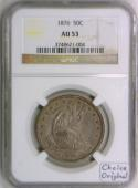1876 Seated Liberty Half Dollar NGC AU-53; Choice Original!