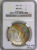 1887 Morgan Dollar NGC MS-63* (Star); Red, Gold, and Green!