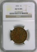 1854 Large Cent NGC AU-55 BN