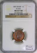 1897 89/89 Indian Head Cent NGC MS-65+ RB With Photo Seal; FS-402; Finest Known?