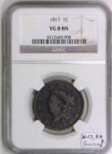 1817 Large Cent NGC VG-8; N-17, R-4; Scarce!