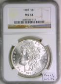 1883 Morgan Dollar NGC MS-64; Frosty White!