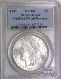 1897 Morgan Dollar PCGS MS-64; VAM 6A Pitted Reverse; Top 100; Nice White!