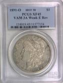 1891-O Morgan Dollar PCGS XF-45; VAM 3A Weak E Rev; Hot 50