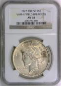 1922 Peace Dollar NGC AU-58; VAM-1F Field Break EDS; Top-50