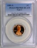 1981-S Proof Type 2  Lincoln Cent PCGS PR-69 RD DCAM