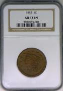 1852 Large Cent NGC AU-53 BN
