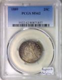 1889 Seated Liberty Quarter PCGS MS-62; Superb Original! Mintage 12,000