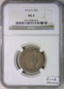 1914-S Barber Quarter NGC AG-3; Good Obverse!