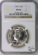 1989-D Kennedy Half Dollar NGC MS-66; Flashy PL