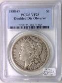 1888-O Doubled Die Obverse Morgan Dollar PCGS VF-25, Nice Original