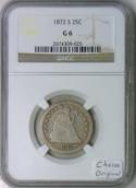 1872-S Seated Liberty Quarter, Reverse of 1871-S, NGC-6; Looks VG, WOW!!!