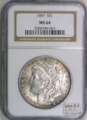 1887 Morgan Dollar NGC MS-64 With VAMSeal Label; VAM-3A L.D.S. Dbl. Clash T