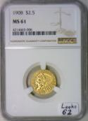 1908 $2.50 Gold Quarter Eagle NGC MS-61;  Looks 62!
