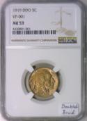 1919 Buffalo Nickel NGC AU-53; NEW DDO; VP-001; Doubled Braid!