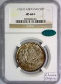 1936-D Arkansas Commemorative Half Dollar NGC MS-66+ with CAC; Choice Original!