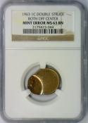 1963 Lincoln Cent Double Struck Both Off Center Mint Error; NGC MS-63 BN