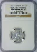 1983 Lincoln Cent Struck On An Unplated Planchet Mint Error NGC MS-64