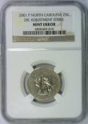 2001-P North Carolina Quarter Die Adjustment Strike Mint Error; NGC Certified
