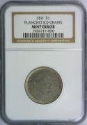 Susan B Anthony Dollar Planchet 8.0 Grams Mint Error; NGC Certified