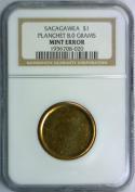Sacagawea Dollar Planchet 8.0 Grams Mint Error; NGC Certified