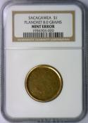 Sacagawea Dollar Planchet 8.0 Grams Mint Error; NGC Certified