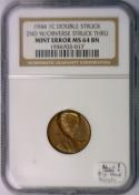 1944 Lincoln Cent Dbl Struck 2nd w/Obv Struck Thru; NGC; Big Head Variety! NEAT!